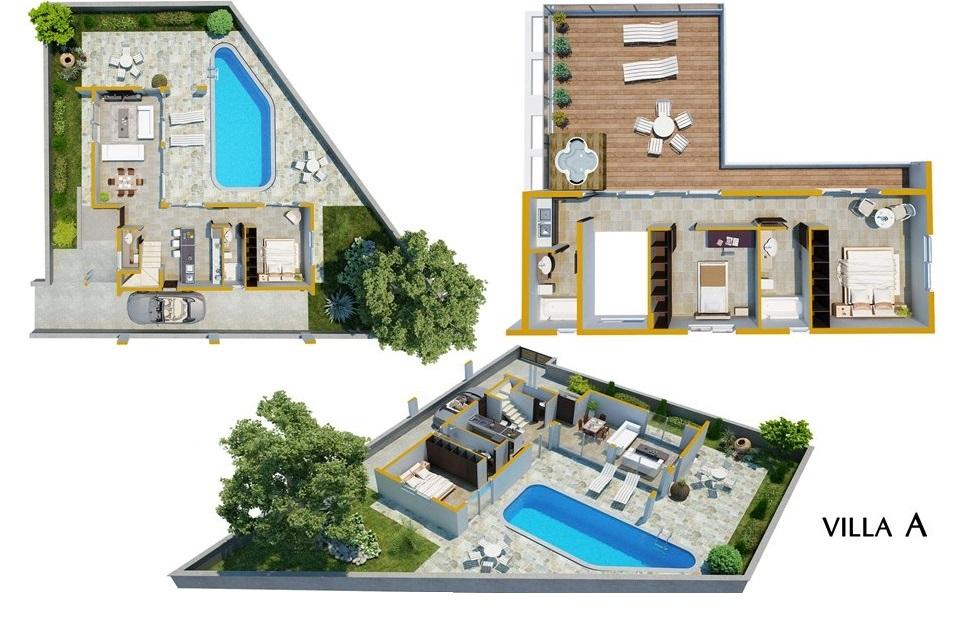 Luxury Villa in the hills of Ayia Napa Type A 3D floor cuts
