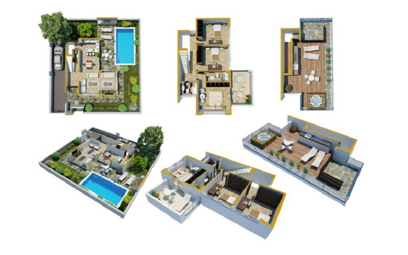 Luxryry Villas in the Hills of Ayia Napa Type C Floor Plans Coloured