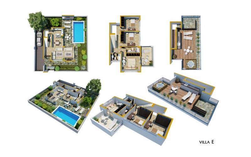 Luxury Villas in the Hills of Ayia Napa (Type E) Villa 1 Floor Plans in colour