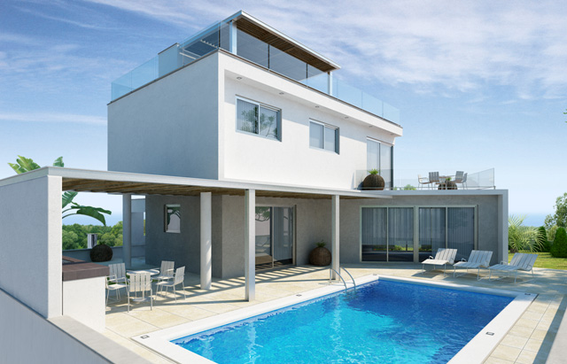 Luxury Villas in the hills of Ayia Napa (Type B) Daytime from outside