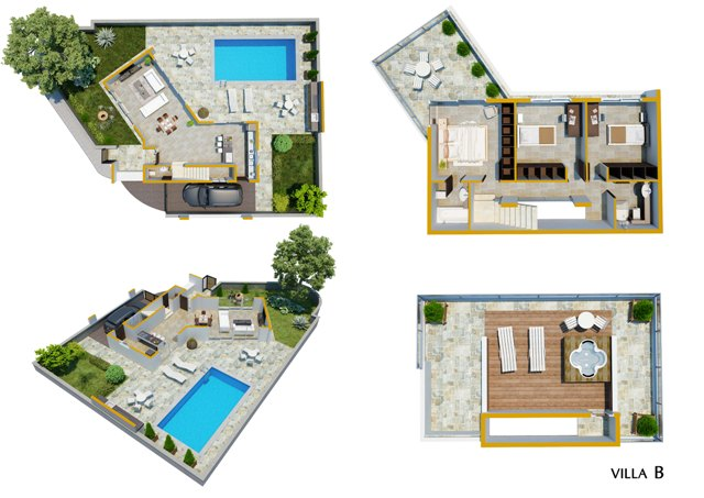 Luxury Villas in the hills of Ayia Napa (Type B) Floor cuts